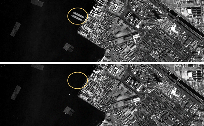 satellite view of a harbor with top picture has boats and bottom picture does not
