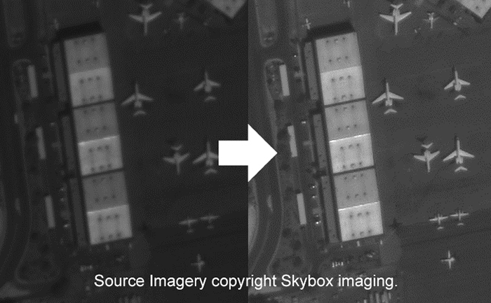 two images side by side with right image indicated a better quaility enhancement